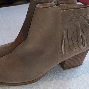 Franco Sarto fringe suede ankle boots